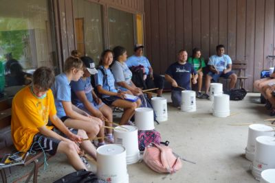 Leading a drum circle at Stepping Stones